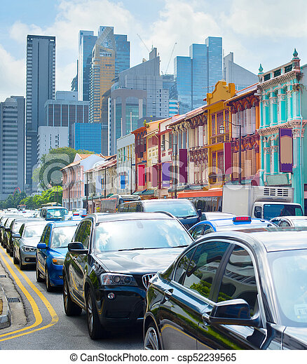 Atasco de tráfico de Singapur en Chinatown - csp52239565