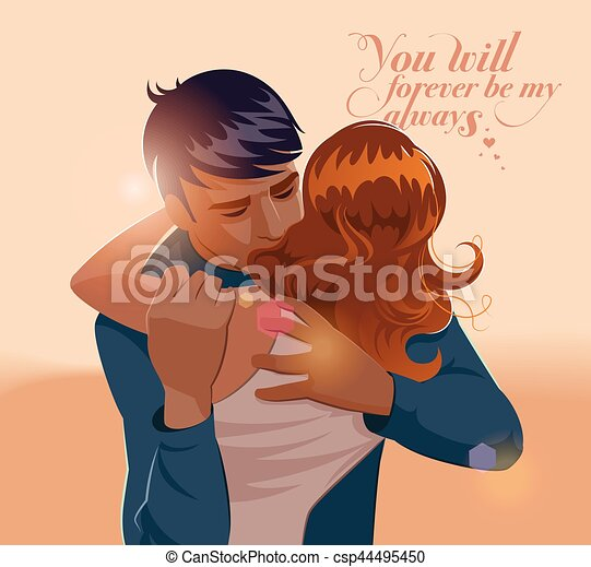 Embraces of a loving couple. Vector illustration - csp44495450