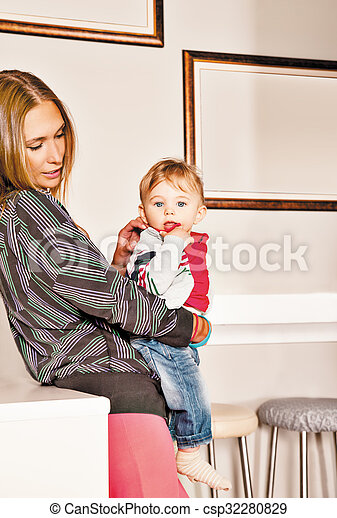 embracing mother baby affection - csp32280829