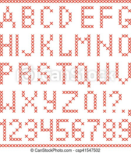 Embroided by cross stitch english alphabet with numbers and symbols isolated on white background. - csp41547502
