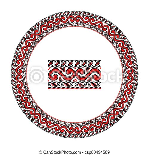 Embroidered good like handmade cross-stitch ethnic Ukraine pattern. Round ornament in ethnic style. - csp80434589