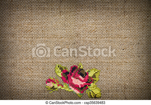 embroidered rose - csp35639483