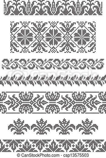 Embroidery Borders Set Of Geometrical Borders Embroidery Cross