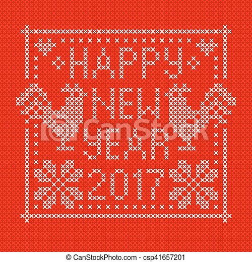 Embroidery card with cross stitch embroidered roosters. - csp41657201