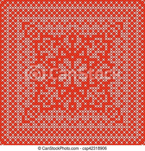 Embroidery card with cross stitch embroidered ornament. - csp42318906