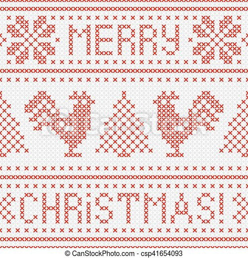 Embroidery Christmas card with cross stitch embroidered roosters. - csp41654093