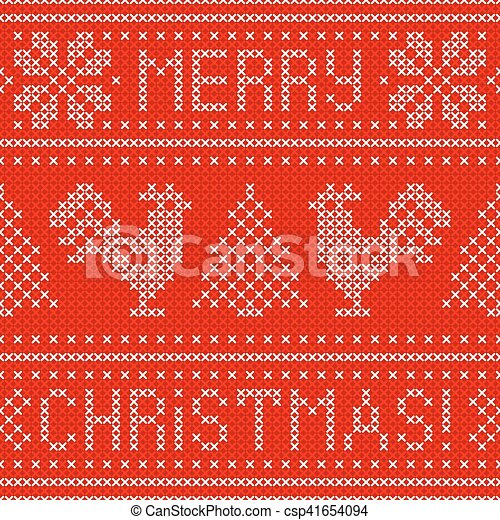Embroidery Christmas card with cross stitch embroidered roosters. - csp41654094