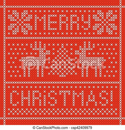 Embroidery Christmas card with cross stitch embroidered deers in frame. - csp42409979