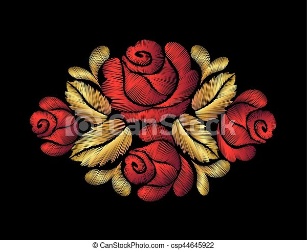Embroidery Crewel Flower Patch Traditional Ornament