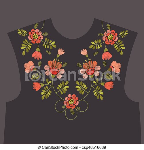 Embroidery floral neckline design - csp48516689
