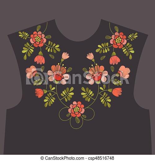 Embroidery floral neckline design - csp48516748
