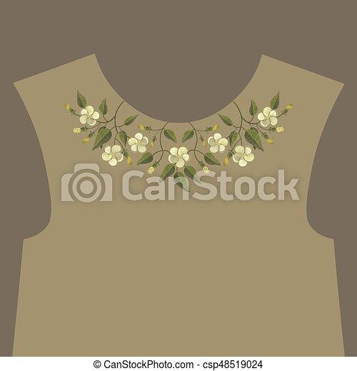 Embroidery floral neckline design - csp48519024