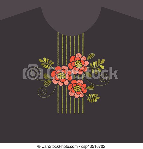 Embroidery floral neckline design - csp48516702
