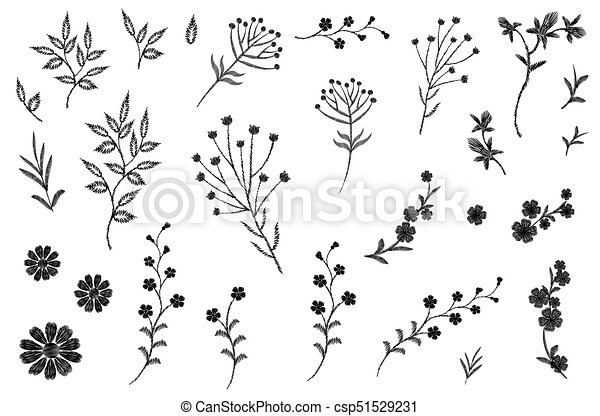 Embroidery Flower Field Herb Collection Fashion Print Patch