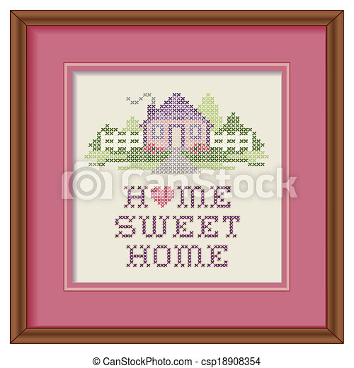 Embroidery Frame Home Sweet Home Mahogany Wood Picture Frame With
