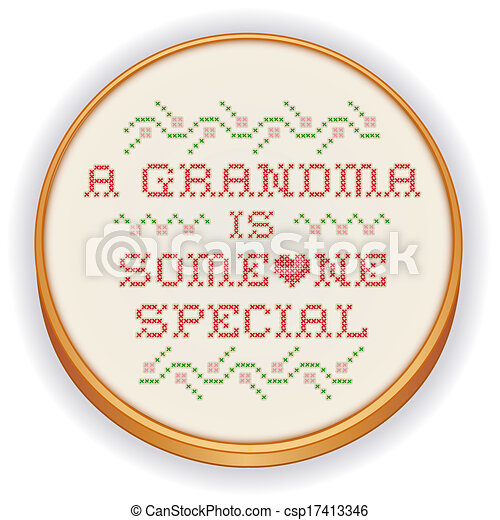 Embroidery, Grandma Cross Stitch - csp17413346