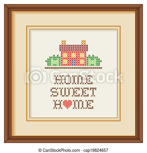 Embroidery, Home Sweet Home Frame - csp19824657