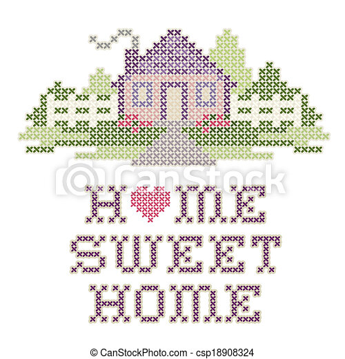 Embroidery Home Sweet Home Cross Stitch Embroidery Design Home