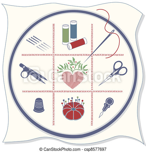 Embroidery Icons, Red, White, Blue - csp8577697