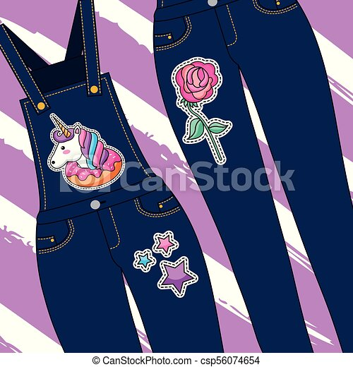 12b80a93f6cb Embroidery patch denim. Female clothes blue jeans and overalls ...