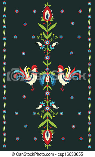 Embroidery Pattern With Roosters - csp16633655