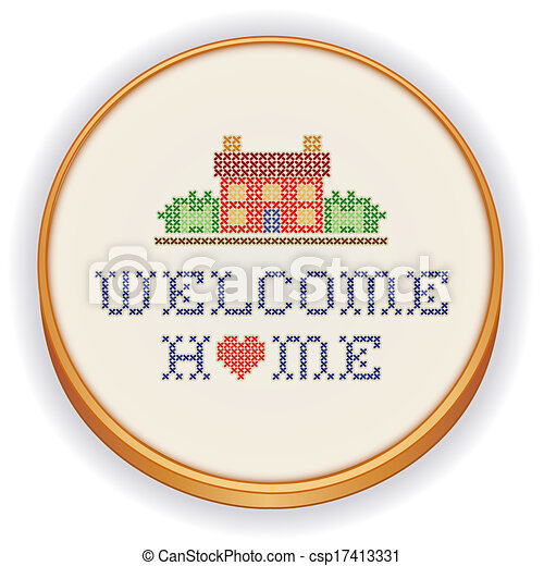 Embroidery, Welcome Home - csp17413331