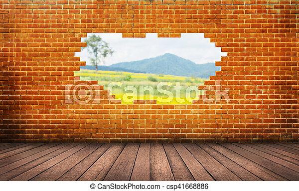 emelet, fal, erdő, háttér, tégla, kilyukaszt, piros - csp41668886
