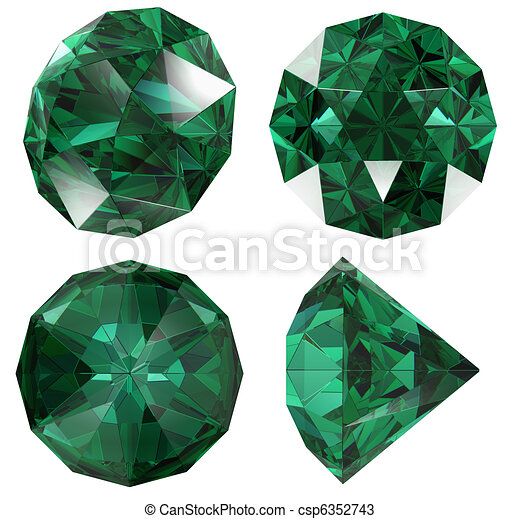 Emerald color jewel gem isolated - csp6352743