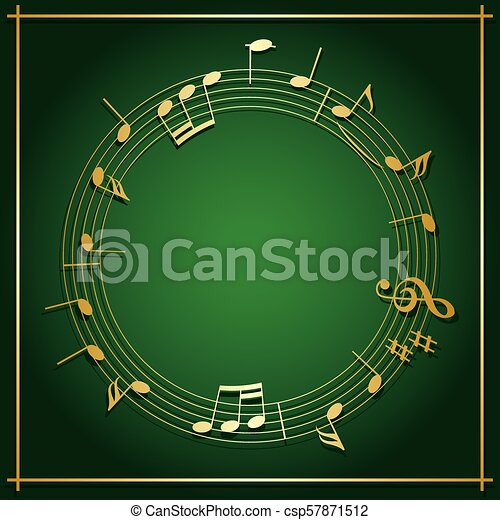 Emerald Green Vector Background With Round Music Frame