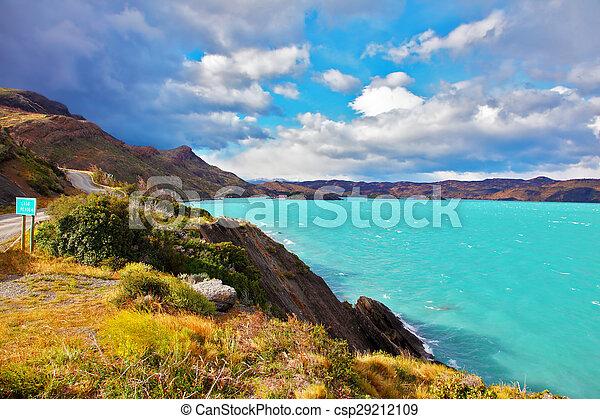 Emerald waters of Lake Pehoe - csp29212109