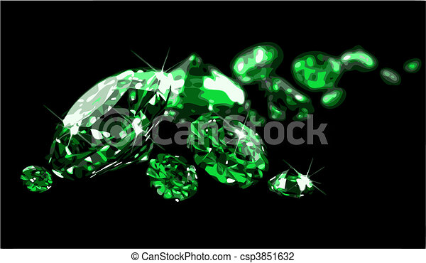 Emeralds on black surface (vector) - csp3851632