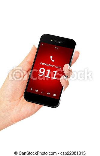 emergência, móvel, número, mão, telefone, segurando, 911 - csp22081315