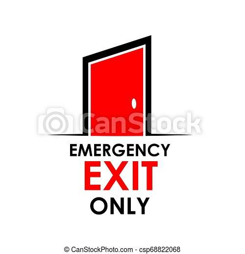 Palabra, salida de emergencia sólo con puerta, ilustración de acciones - csp68822068