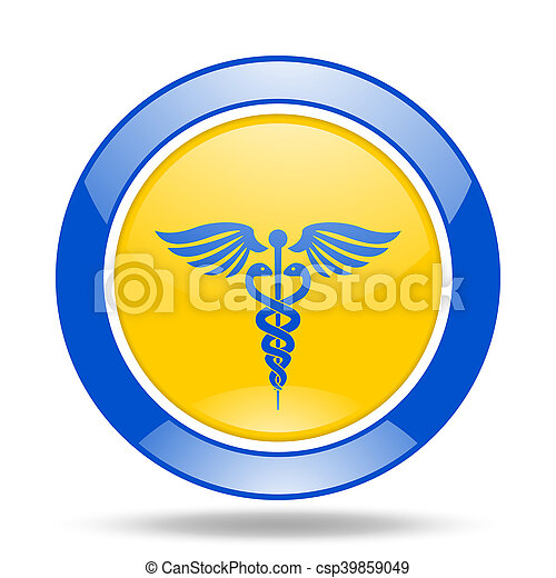 emergency blue and yellow web glossy round icon - csp39859049