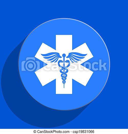 emergency blue web flat icon - csp19831066