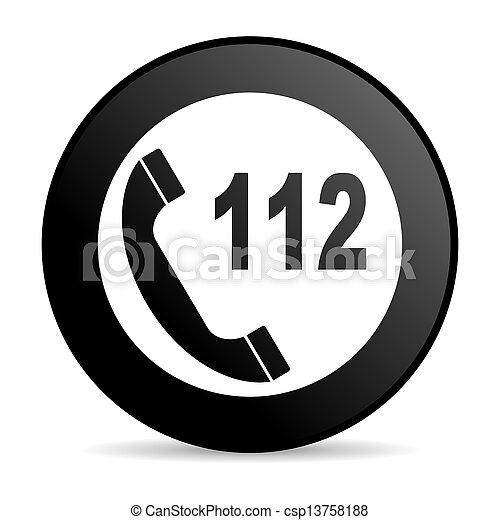emergency call black circle web glossy icon - csp13758188