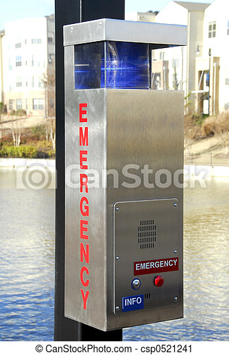 Police Emergency Call Box In Public Park