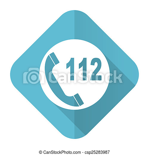 emergency call flat icon 112 call sign - csp25283987