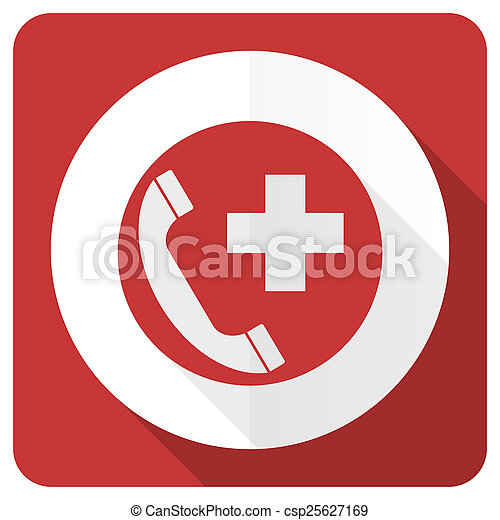 emergency call red flat icon  - csp25627169