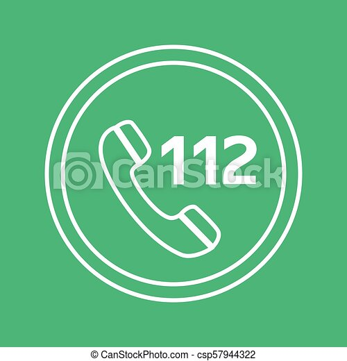 emergency call white and green vector icon, circle flat design internet button, web and mobile app illustration - csp57944322