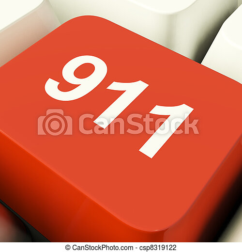 Emergency Computer Key Showing Fire Police Or Medical Rescue - csp8319122