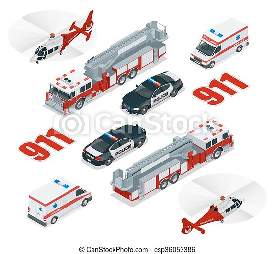Emergency concept. Ambulance, Police,  Fire truck, cargo truck, helicopter, emergency number 911.  Flat 3d isometric city transport icon set. - csp36053386