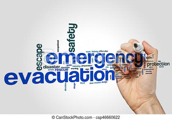 Emergency evacuation word cloud concept on grey background - csp46660622