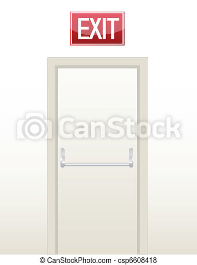 Emergency exit door illustration - csp6608418