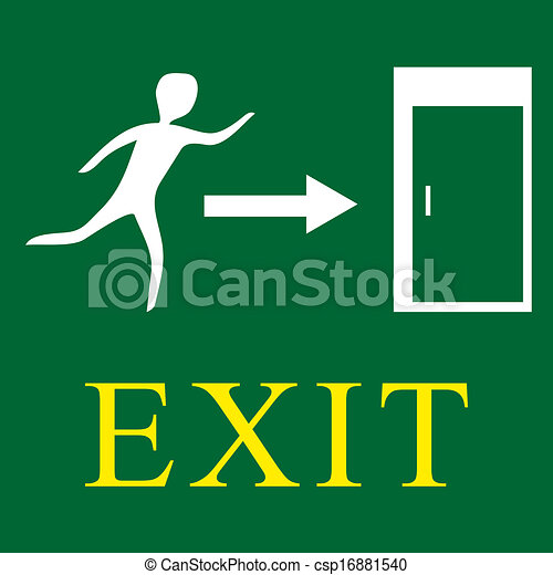 Emergency exit - green sign - csp16881540