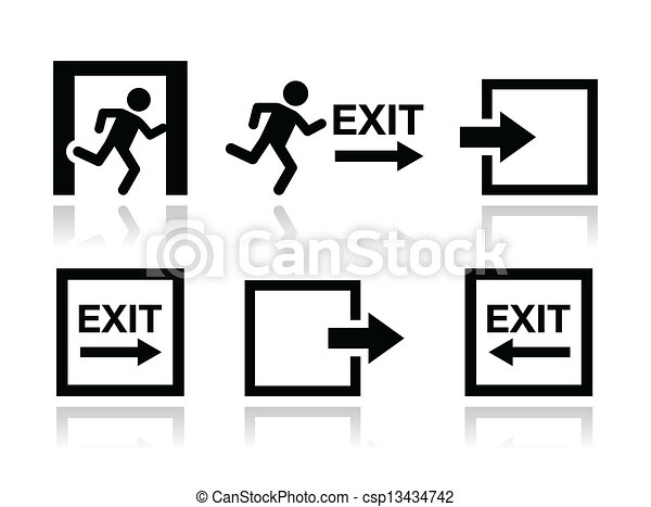 Emergency exit icons vector set - csp13434742