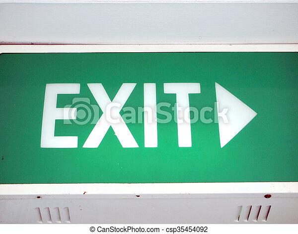 Emergency exit sign - csp35454092