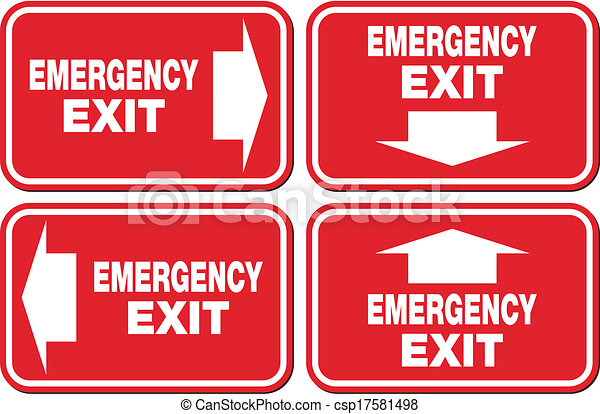 emergency exit signs - red sign - csp17581498