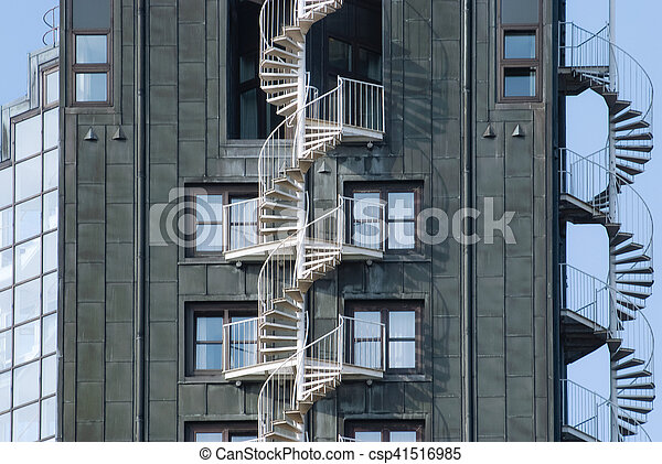 Emergency Fire Escape Staircases On A Building Exterior. Urban Architecture  In Hamburg, Germany