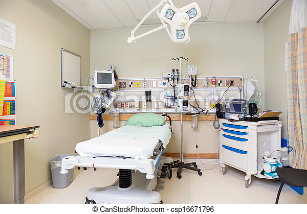 Interior of emergency hospital room with bed and equipment stock ...